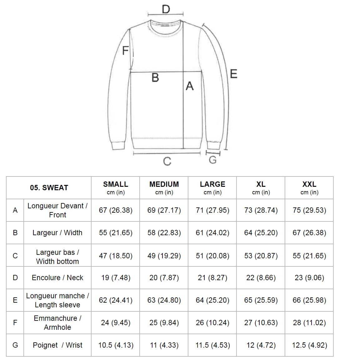 Sweatshirt - guide des tailles